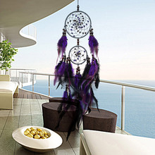 Handmade Dream Catcher Purple Feathers Decoration Ornament Gift Colorful Craft Dreamcatcher Wind Chimes Art Pendant L530