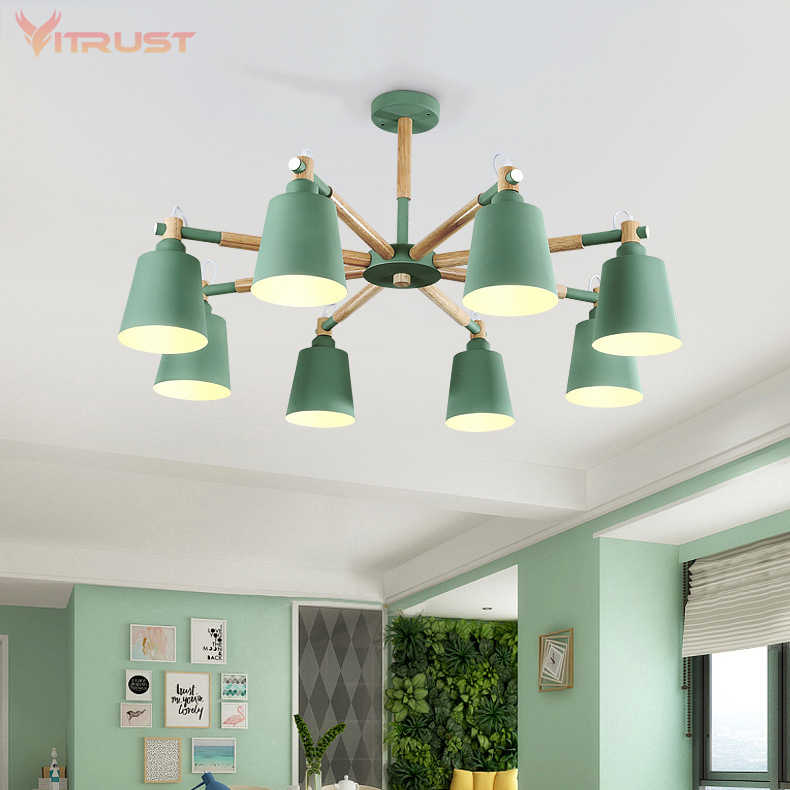 E27 Nordic Chandelier With Iron Lampshade Wood LED Chandeliers 3/6/8 Lights Color Optional For Living Room Bedroom Hanging Light