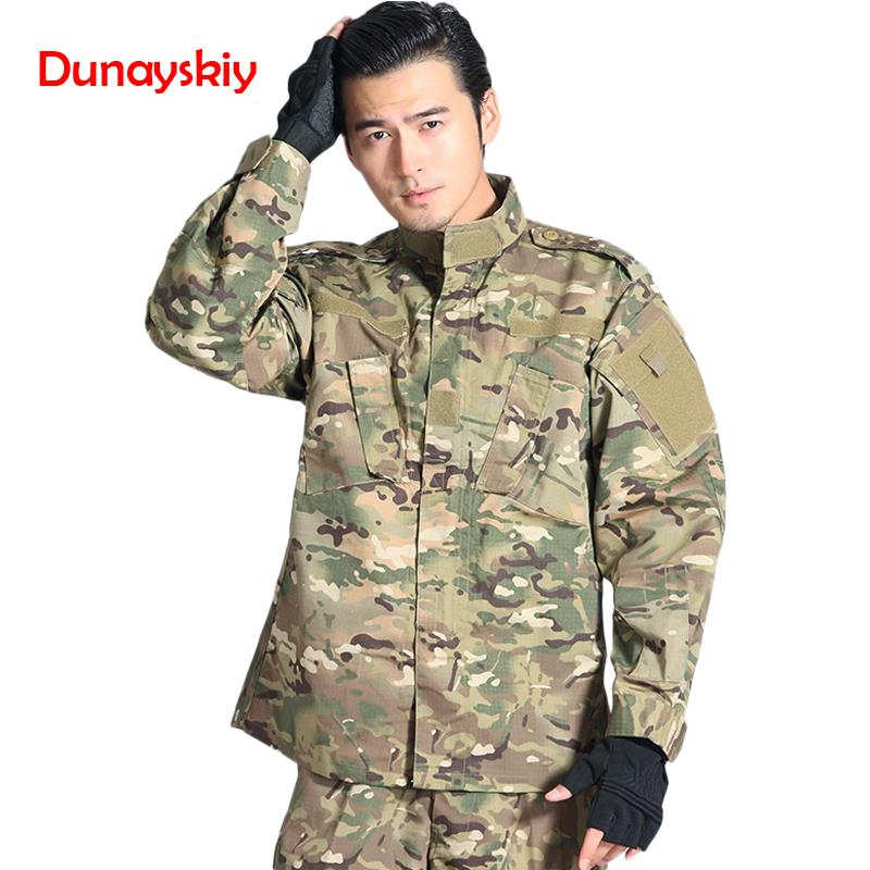 Military Uniform Set Army Outdoors Camouflage Color Tactical Men Clothes Special Forces Combat Shirt Soldier Training Clothes image