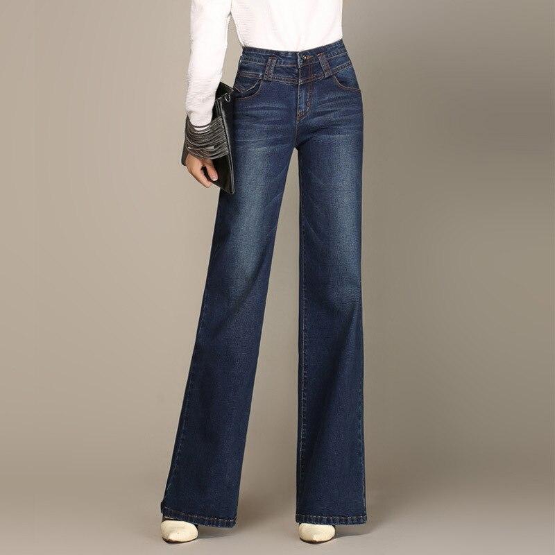 Hot Womens Wide leg Jeans For Autumn Winter High Waist Straight Long Je