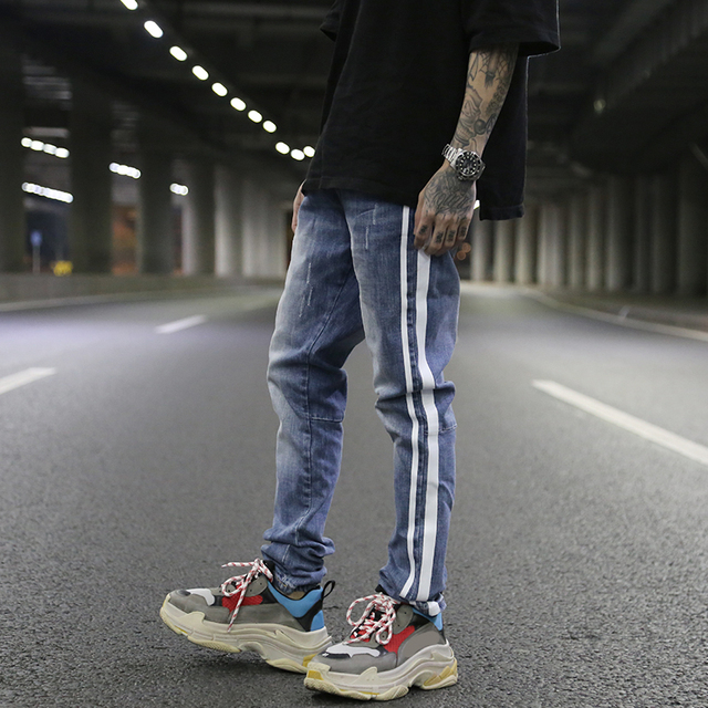 2018SS HOT Justin Bieber FEAR OF GOD Biker Double white stripe Ripped Destroyed men jeans hip hop Fashion Casual Jeans 2 style