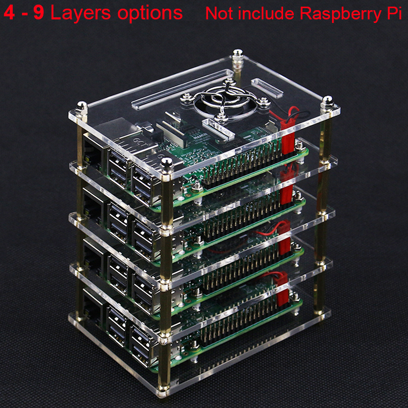 Superimposed 4 5 6 7 8 9 Layer Acrylic Case for Raspberry Pi 4 Model B Acrylic Holder Shell + Cooling Fan + Metal Cover for RPIDemo Board Accessories   -