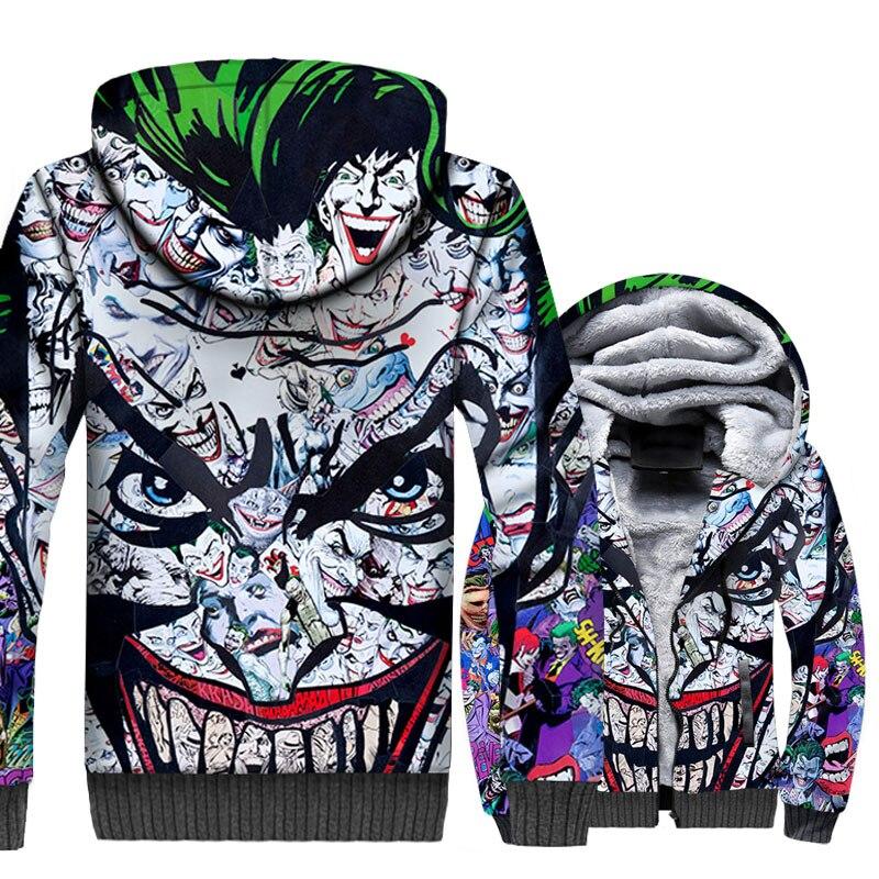 2018 Fashion Thick Coat Autumn Winter Zipper Jacket Men BATMAN SuperHero Streetwear Joker 3D Men 39 s Hoodies Harajuku Sweatshirts in Hoodies amp Sweatshirts from Men 39 s Clothing