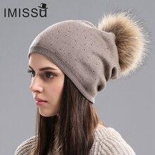 Im gorro de Invierno para mujer gorro de lana de punto gorro de piel de  mapache Real pompón sombreros colores sólidos Gorros de . 164ec34e7e0