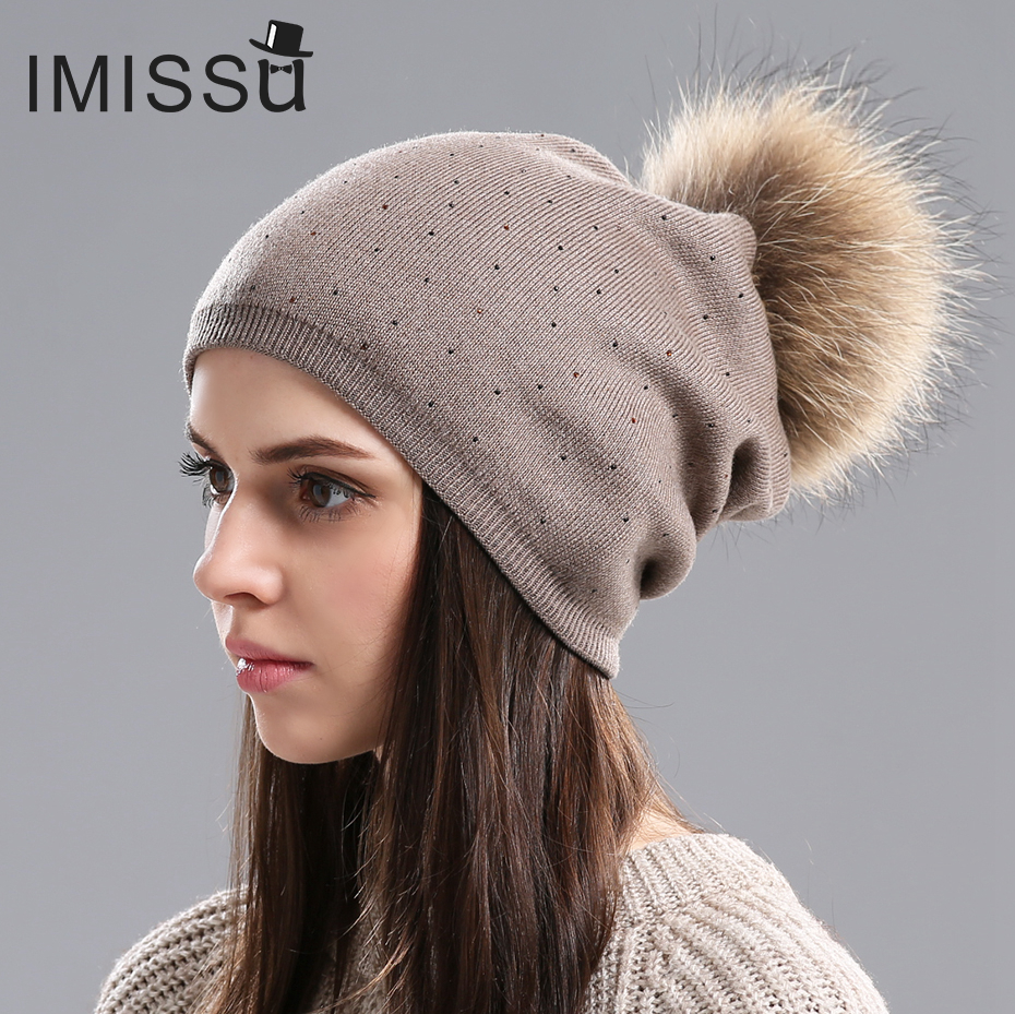 IMISSU Women Winter Hat Wool Knitted Beanies Cap Real  Raccoon Fur Pompom Hats Solid Colors Ski Gorros Cap Female Causal Hat mengpipi women children cotton knitted hats winter warm raccoon fur hat cap gorros de lana touca casquette cappelli bonnets
