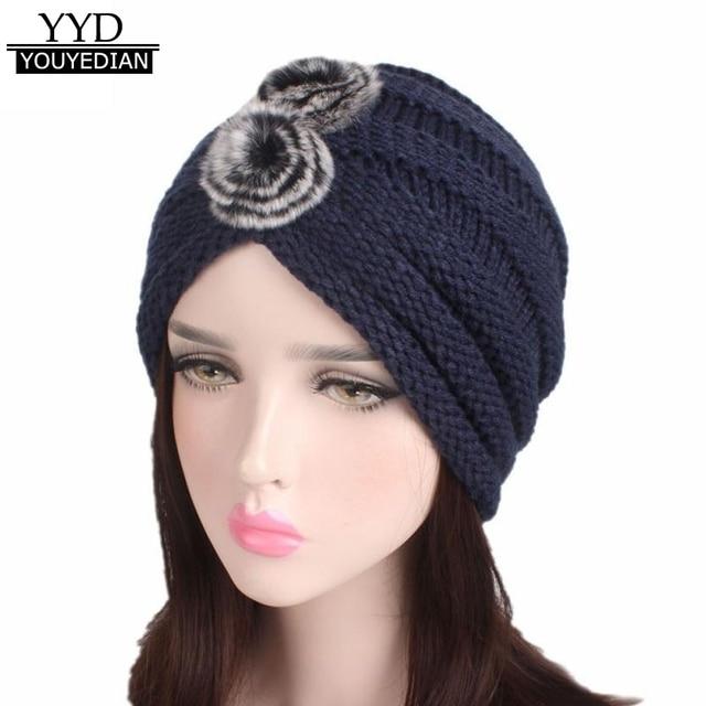 6fbcf3d31e6 Winter Beanies Women 2017 Ladies India Muslim Knitting Hat Female Pompon  Turban Wrap Brim Hat Cap Women Ladies  1106
