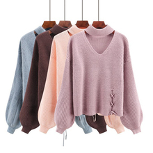 5 Solid Color Woman Sweater Autumn Winter Hollow Lace-up Lantern Sleeve Kpop Crop Knitted Loose Womens Sweaters Ladies