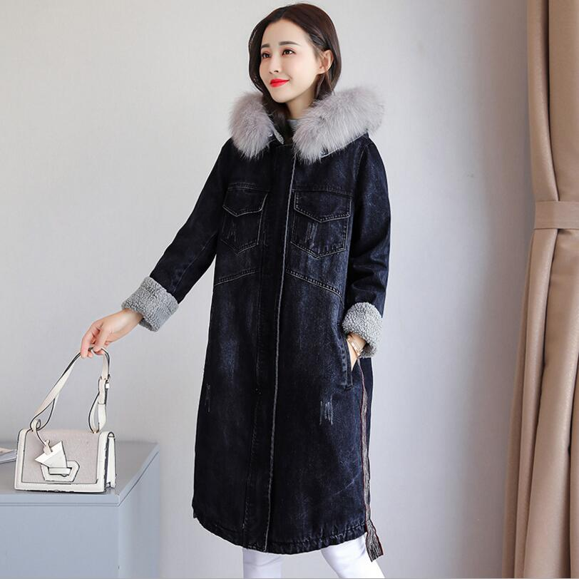 2018 Mode Denim La Veste R195 Fourrure Col Plus Blue Laine Dark Manteau De 3xl Hiver Taille Agneau Femmes Femelle Longue Ouatée Capuchon Chaud À I4UnrS4