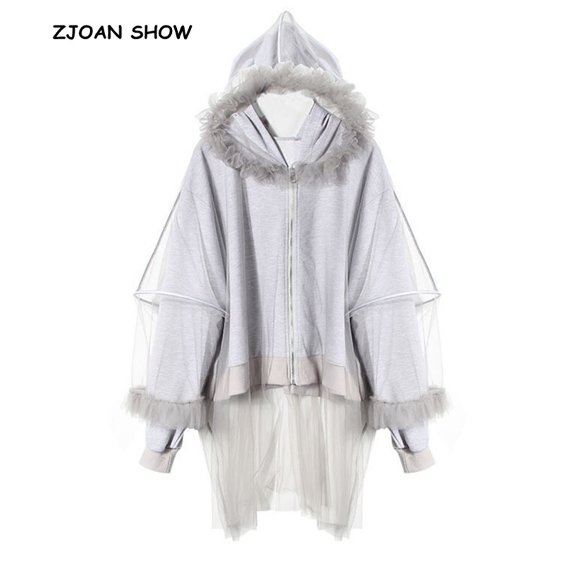 New 2018 Women Gray Color Stiching Mesh Hooded Hoodies Sweatshirt Sexy Autumn Winter Zipper Fleece Jumper Casual Sweats Outwear Diversified In Packaging Women's Clothing