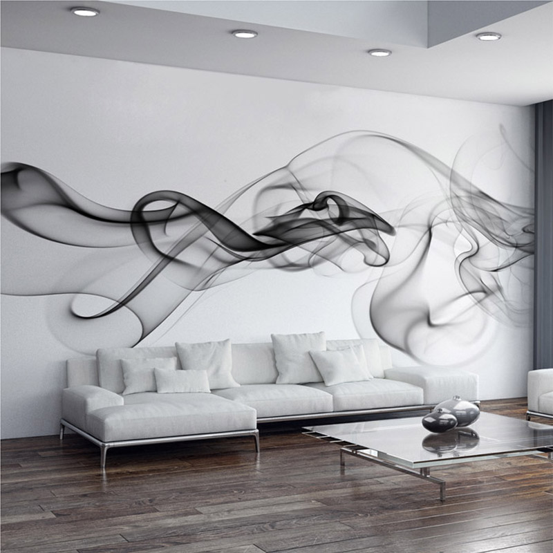 Modern 3D Wall Mural Wall Cloth Black White Smoke Fog Art Design Wallpaper For Walls Living Room Gallery Backdrop Wall Coverings