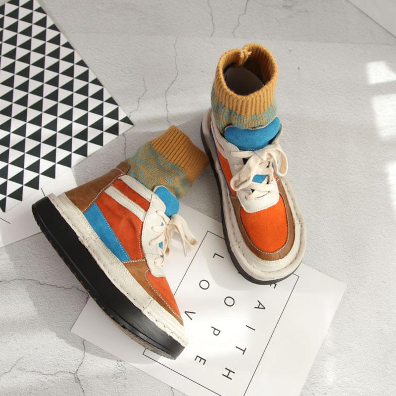 Chaussettes Vert orange Automne Fille Mode Couleur Plates Martin Tube Véritable Japonais Bottes Laine Sauvage Rétro Chaussures Bottines Mori Cuir De Laçage En 55R1q