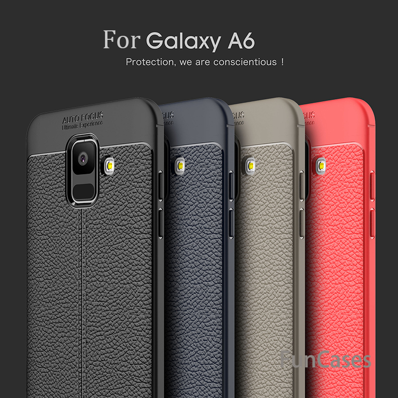 For <font><b>Samsung</b></font> Galaxy A6 <font><b>2018</b></font> Case S8 S9 Plus Carbon Fiber TPU Silicone leather Soft Full Back Cover For Galaxy <font><b>A8</b></font> Plus <font><b>2018</b></font> Coque image