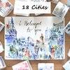18 Citis Set Travel Series Washi Tape Set Japanese Cute Masking Tape DIY Post It Scrapbooking