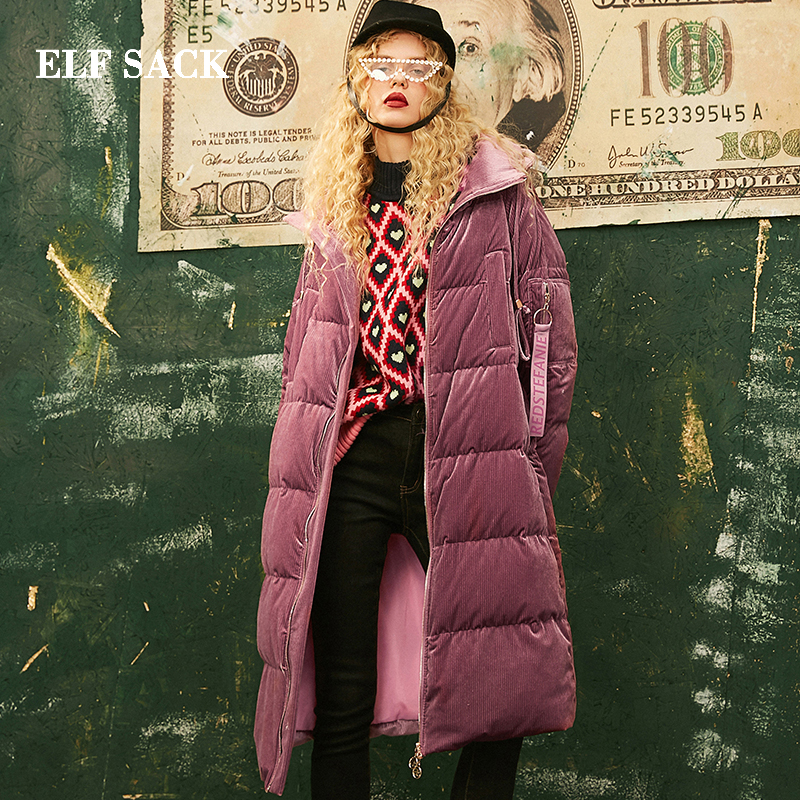 ELF SACK New Fashion Thick Down Jacket Woman 90 White Duck Down Coat Women Casual Full