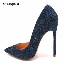 Free shipping real pic dark blue navy crystal rhinestone pointed toe hot  sale women lady evening ed4ad8bcdffb