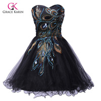 2015 Peacock Pattern Black Tulle Short Robe De Cocktail Dress Embroidery Sexy Prom Party Ball Gown