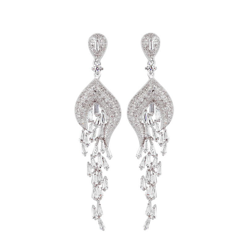 Luxury Design 7cm Long Chandelier Earrings With Full Cubic Zirconia Diamond Hand Made Jewelry Le0115 In Drop From Accessories On