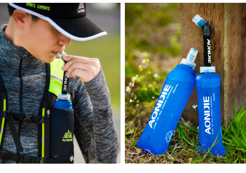 Foto with man water's flask folding TPU for sport. Collapsible flask of water 500ml for hiking