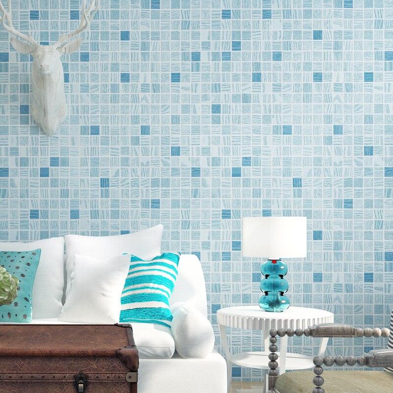 Beibehang Wallpaper Modern Minimalist Mosaic Flocking Blue Mediterranean Style Living Room Background Wallpaper Papel De Parede Wallpapers