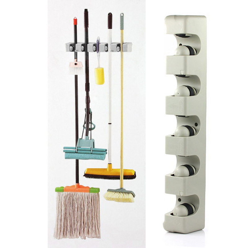 ABS Kitchen Organizer 5 Position Wall Mounted Shelf Storage Holder for Mop Brush Broom Mops Hanger Home Organizer