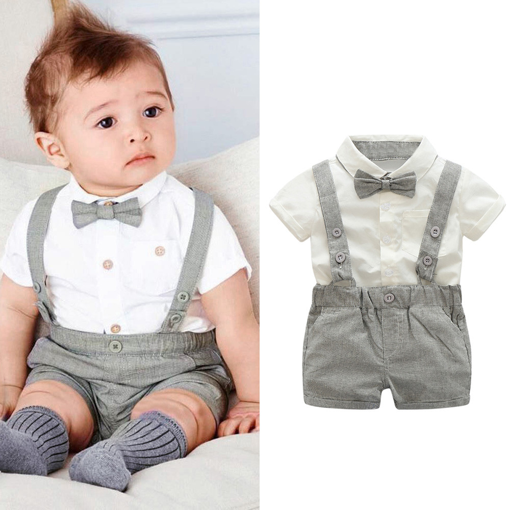 Kids Baby Boys Summer Gentleman Bowtie Short Sleeve Shirt+Suspenders Shorts Hole jeans Childrens Clothes