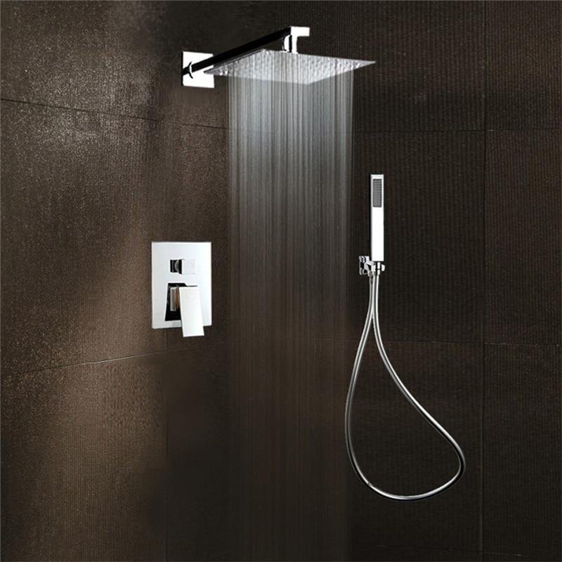 TTLIFE Luxury Bathroom Shower Set Large Rain Waterfall Shower Head Dual Handles Thermostatic Mixer Valve