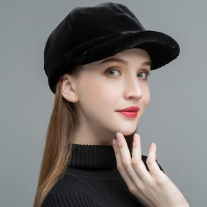 Image 2 - Gours Womens Fur Hats Real Sheep Shearing Caps Cotton Lining Warm In Winter Fashion Black Wool Visors New Arrival GLH023