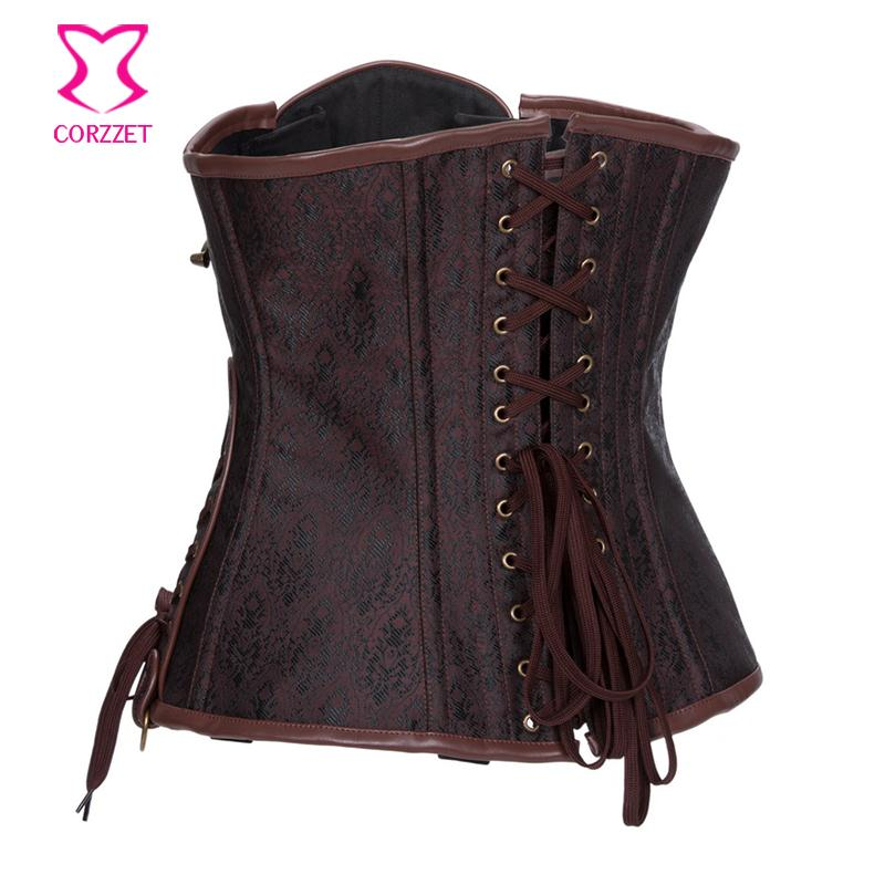6e2a9eebfe Brown Gothic Steampunk Clothing Women Plus Size Waist Trainer Corset ...