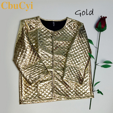 CbuCyi Fashion Women Argyle Gold Sequins Short Jackets Three Quaters S