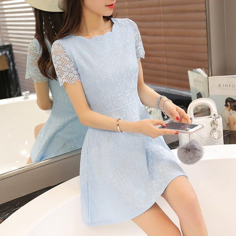 bdde27a5f6 2018 damas bordado lindo encaje Plus tamaño vestido de mujer de verano de  manga corta vestido Sexy