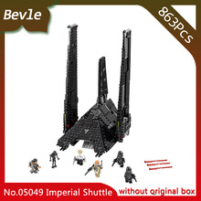 Bevle Store LEPIN 05049 863Pcs Star Wars series Krennic's Imperial Shuttle Model Building Blocks Bricks For Children Toys 75156