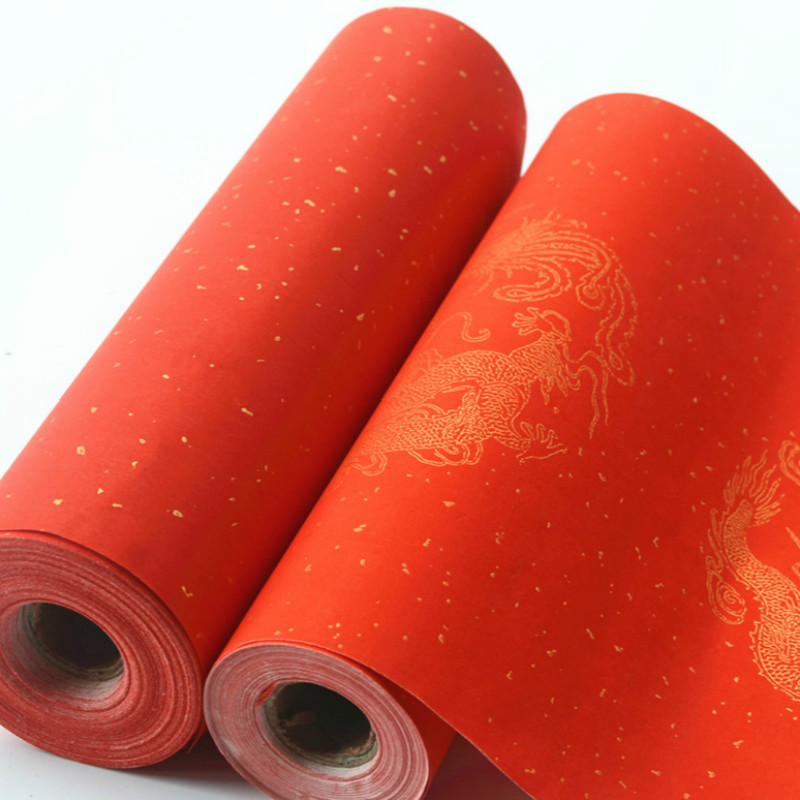 Bright Red Rice Paper For Spring Festival Couplets Chinese Calligraphy Writing Painting Xuan Paper Dragon Half-Ripe Xuan Paper