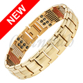 Channah 2017 Men Gold 4in1 Magnets Negative Ions Germanium Far Infra Red Titanium Bracelet Bangle Free Shipping Charm