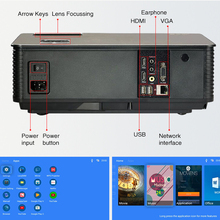 WIFI LCD Projector 5500 Lumen Full HD Android 6.0 Double HIFI speakers