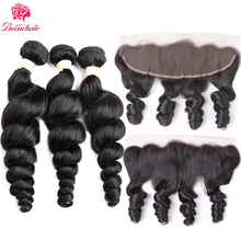Beau Hair Brazilian Curly Human Hair3PCS Loose Wave Weave Bundles With Free Part13x4 Lace Frontal Closure With Remy Hair Bundles