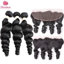 Beau Haar Brasilianische Lockige Menschliche Hair3PCS Lose Welle Weave Bundles Mit Kostenlose Part13x4 Spitze Frontal Schließung Mit Remy Haarbündel