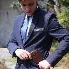 Luxury Brand Men Wallets Cow Leather Genuine Zipper Purse Coin Pocket Vintage Hasp Male Cowhide Clutch Card Holder Wallet W205