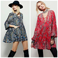 Spring New Women Dress National Wind System V-neck Long Sleeve Floral Print Mini Dress Fashion Loose Bohemain Dress