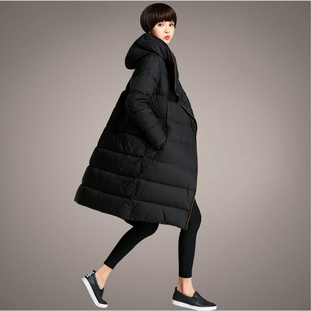 Newest 3XL Design Women 2017 Winter Parka Duck Down Jackets Long Hooded Loose Female Elegant Outerwear Coat High Quality Clothes