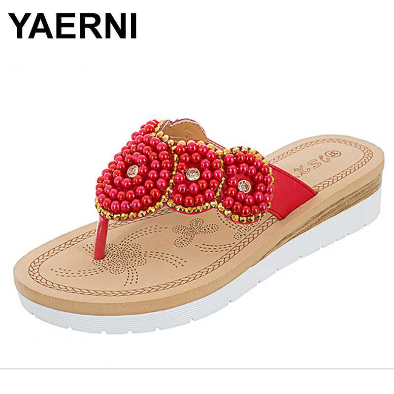 95e1d0f02efd YAERNI 2018 women sandals summer outside BOXIMIYA style crystal Red color  beaches flip flops women size
