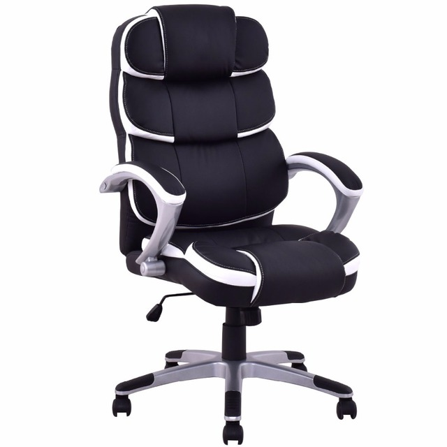 goplus ergonomic pu leather work office chair high back executive