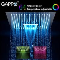 GAPPO shower head Water Powered Led rainfall 400mm*400mm square head shower set faucet bath mixer waterfall bathroom