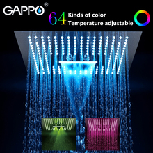GAPPO shower head Water Powered Led rainfall 400mm*400mm square set faucet bath mixer waterfall bathroom