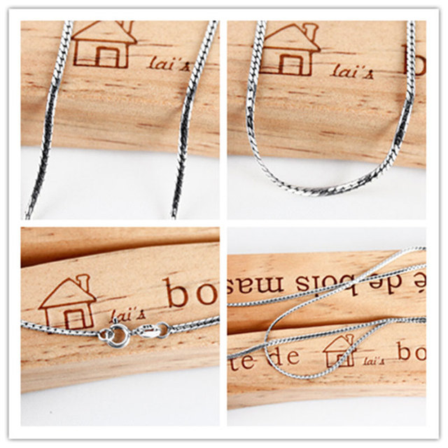 2016 vintage pure Silver 925 jewelry Snake Chain long bone necklace pendants bijoux fashion choker necklace 925-sterling-silver