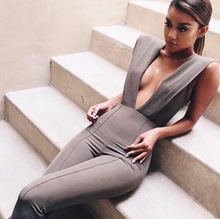 Free Shipping New Arrival Summer Jumpsuits for Women 2018 Gray Deep v Neck Fitted Elegant White Sexy Bodycon Jumpsuit Clubwear (China)