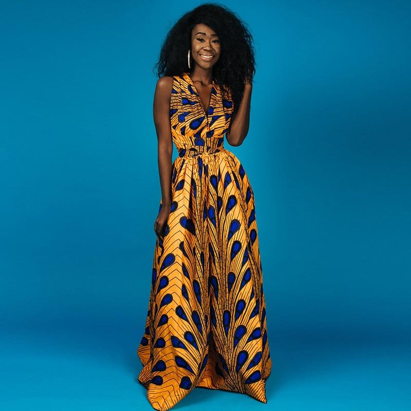Plus size 3XL Elegant SEXY v neck African Print clothes women dress 2018 summer sleeveless halter backless evening party vestido
