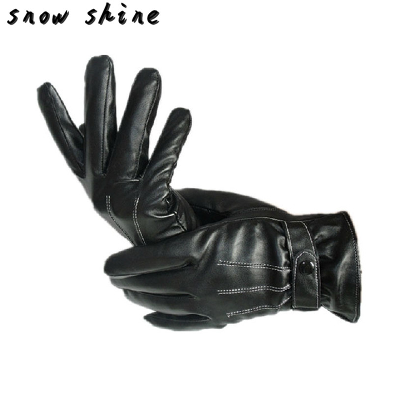 Snowshine Yliw Mens-luxuriöse Pu-leder Pu-leder-winter-super-driving Warme Handschuhe Cashmere Kostenloser Versand Feines Handwerk Bekleidung Zubehör