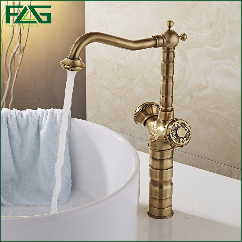 FLG Bathroom Faucet Antique Brass All-copper Double Handle 360 degree Rotating Deck Mounted Cold Hot Sink Mixer Water Tap 10703 flg bathroom faucet antique brass all copper double handle 360 degree rotating deck mounted cold hot sink mixer water tap 10703