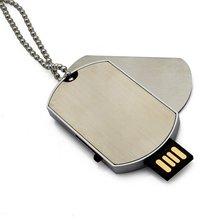 Free Shipping Dog Tag Shape 32gb USB Flash Drive Necklace Pen Drive Metal Memory Stick USB Flash Disk