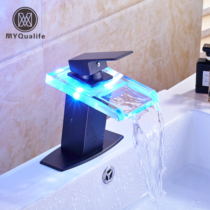 Oil Rubbed Bronze LED Color Changing Bathroom Sink Faucet Deck Mounted Glass Basin Mixer Tap Glass Spout Deck Mounted allen roth brinkley handsome oil rubbed bronze metal toothbrush holder